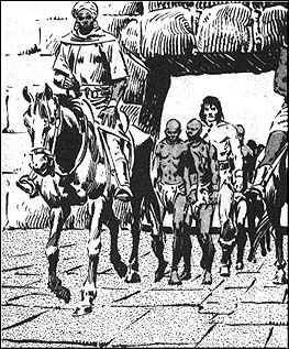 Conan set off in pursuit, with Princess Chabela following him. Both were captured by slavers and sold to the black Queen of the Amazons.